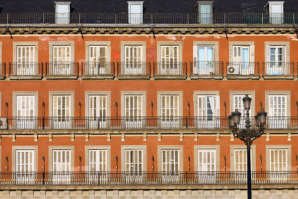 Tenement Photograph - Historic Facade At Plaza Mayor In Madrid by Artur Bogacki