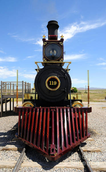 Promontory Point Photograph - Historic Steam Locomotive by Gary Whitton