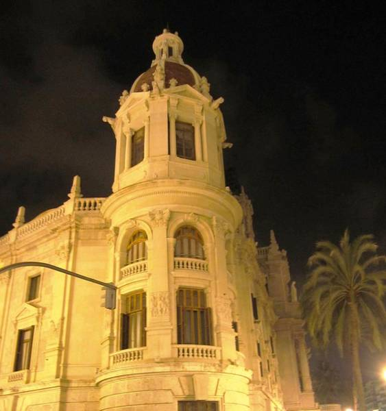 Photograph - Historic Valencia Domed Architectural Building At Night Spain by John Shiron