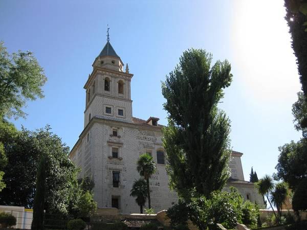 Photograph - Historical Religious Brick Building Blue Sky Granada Spain by John Shiron