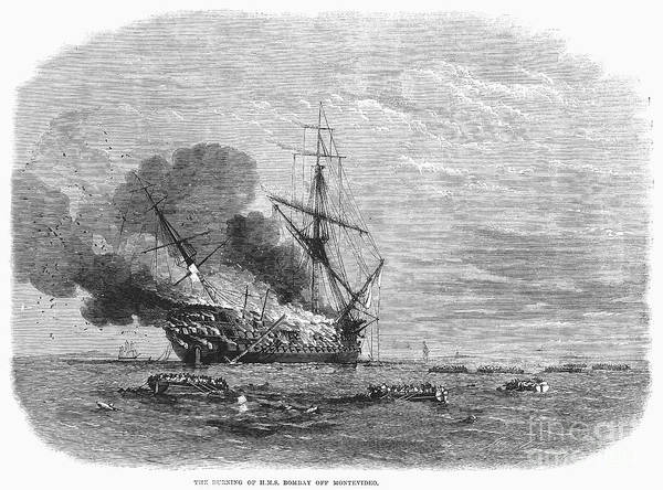 Montevideo Photograph - Hms Bombay Burning, 1865 by Granger