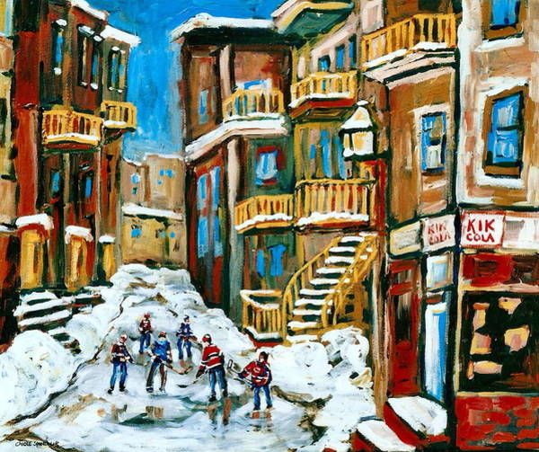 Boys Playing Hockey Painting - Hockey Art In Montreal by Carole Spandau