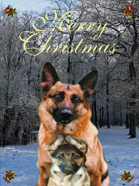 Mixed Media - Holiday German Shepherd And Puppy by Eric Kempson
