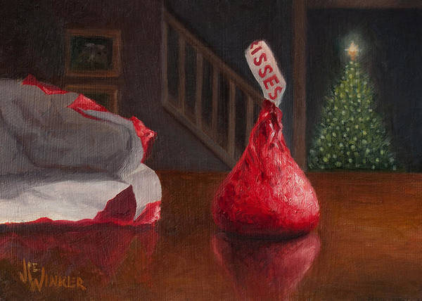 Painting - Holiday Kiss by Joe Winkler
