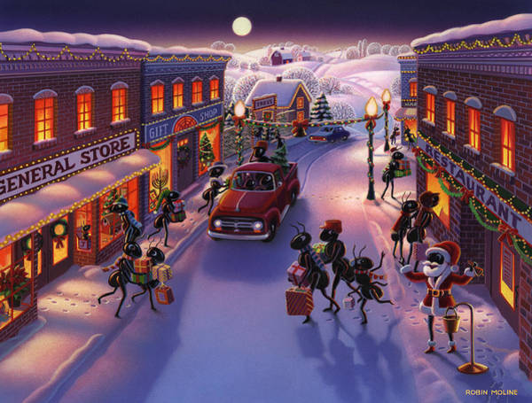 Snow Scene Painting - Holiday Shopper Ants by Robin Moline
