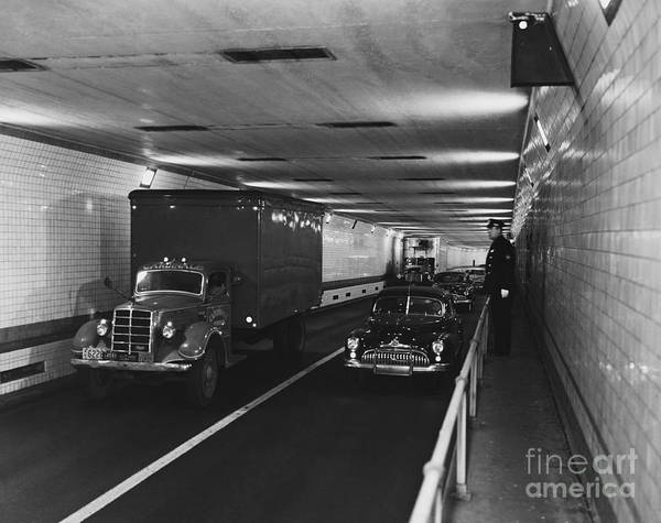 Holland Tunnel Wall Art - Photograph - Holland Tunnel, Nyc by Photo Researchers