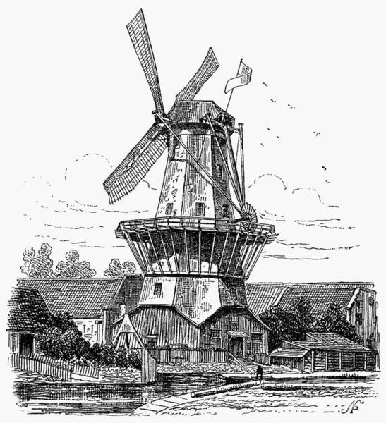 Photograph - Holland: Windmill, 1878 by Granger
