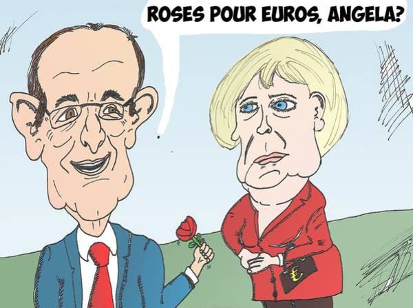 Ant Mixed Media - Hollande Merkel Caricature Bd by OptionsClick BlogArt
