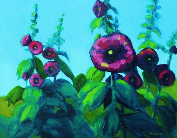 Hollyhocks Art Print