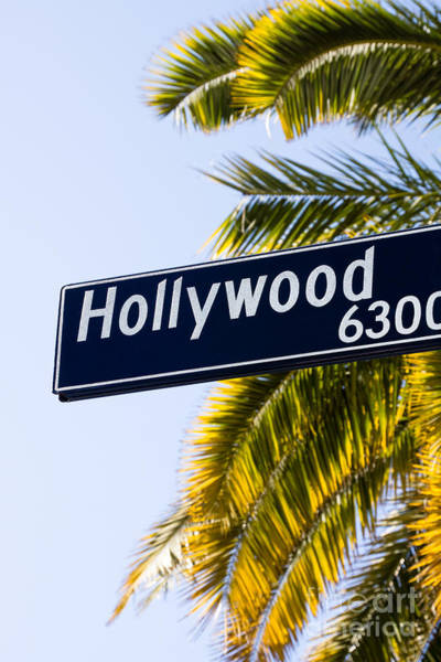 Street Sign Photograph - Hollywood Street Sign Los Angeles California by Paul Velgos