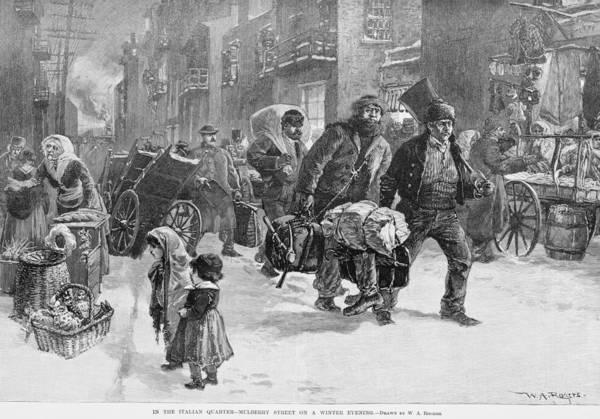 Italian Immigrants Wall Art - Photograph - Homeward Bound Working Men Carrying by Everett