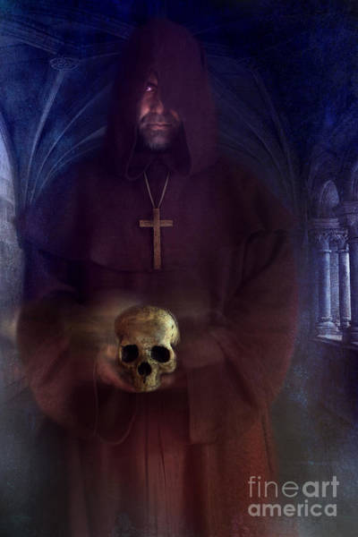 Photograph - Hooded Monk Holding Skull In Montastery by Sandra Cunningham