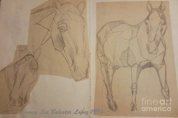 Horse Study Sketchbook Art Print by Jamey Balester