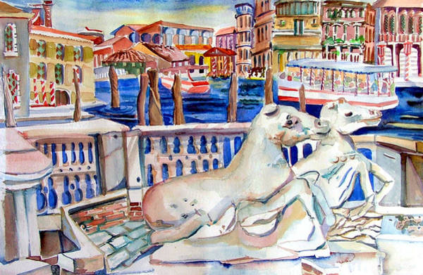 Wall Art - Painting - Horses On The Grand Canal Of Venice by Mindy Newman