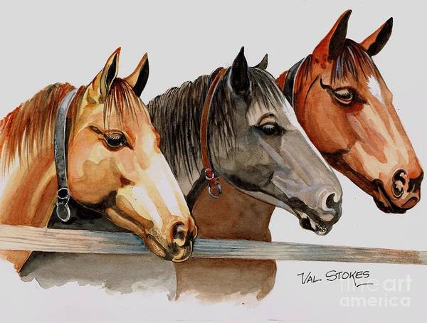 Painting - Horsey Buddies by Val Stokes