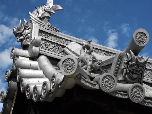 Kansai Wall Art - Photograph - Horyu-ji Temple Roof Gargoyles - Nara Japan by Daniel Hagerman