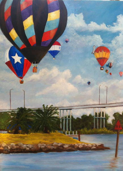 Lone Star Painting - Hot Air Balloons Over Clear Lake by Linda Scott