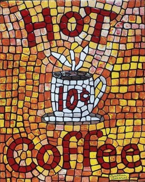 Art Print featuring the painting Hot Coffee 10cents by Cynthia Amaral