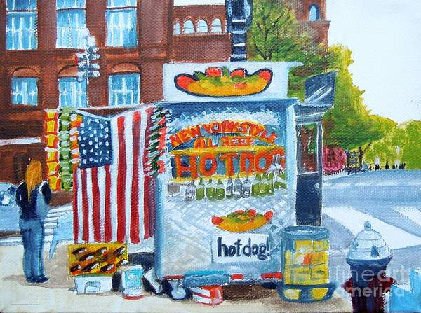 Wall Art - Painting - Hot Dog Man by Pauline Ross