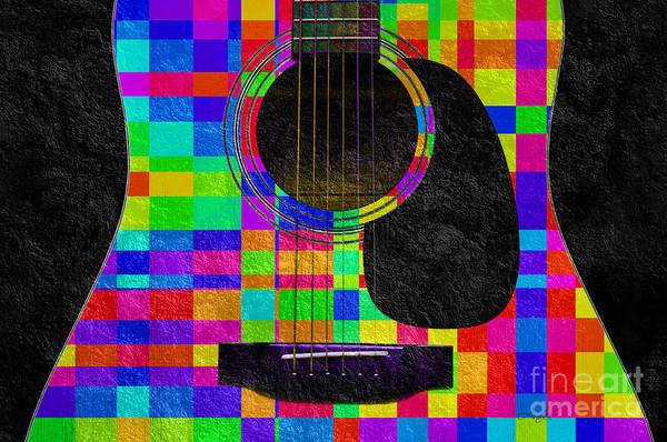 Mixed Media - Hour Glass Guitar Random Rainbow Squares by Andee Design