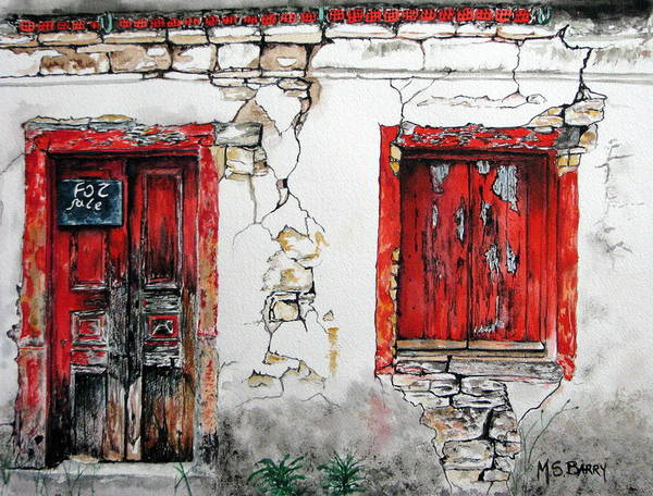 Greek House Painting - House For Sale by Maria Barry