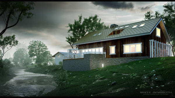 Stereoscopy Digital Art - House In The Forest by White Mammoth