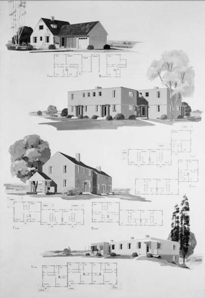 Works Progress Administration Photograph - House Plans For Resettlement Project by Everett