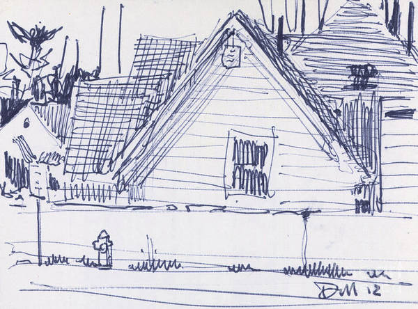Ink Pen Drawing - House Sketch One by Donald Maier