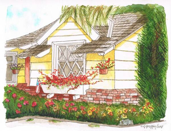 Acuarela Painting - House With Garden In Bel Air - Hollywood Hills - California by Carlos G Groppa