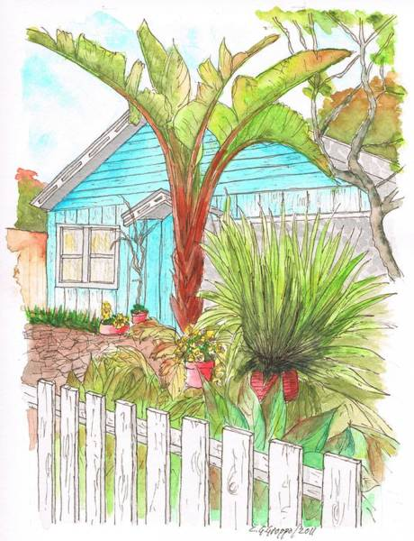 Acuarela Painting - House With A Palm In Venice Beach - California by Carlos G Groppa