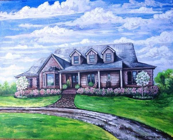 Back Door Painting - House With Pink Roses by Cecilia Putter