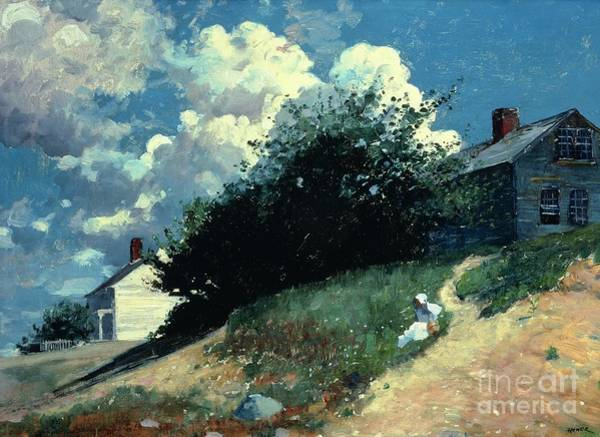 1879 Painting - Houses On A Hill by Winslow Homer