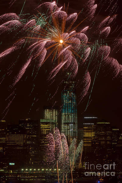 Photograph - Hudson River Fireworks X by Clarence Holmes