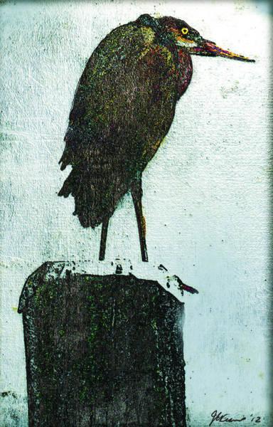 Heron Mixed Media - Huff by Janet Kearns