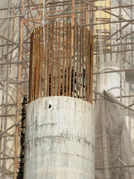 Photograph - Huge Reinforced Column Used For Construction At Sagrada Familia Church Barcelona Spain by John Shiron