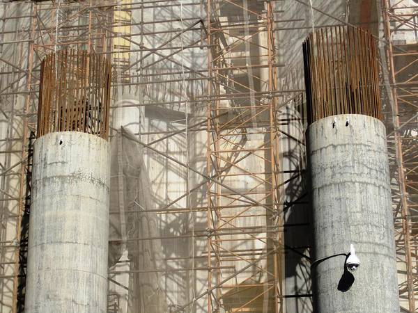 Photograph - Huge Reinforced Columns Used For Construction At Sagrada Familia Church Barcelona Spain by John Shiron