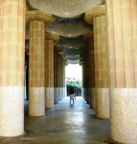 Photograph - Huge Tall Columns II Antoni Gaudi Guell Park Barcelona Spain by John Shiron