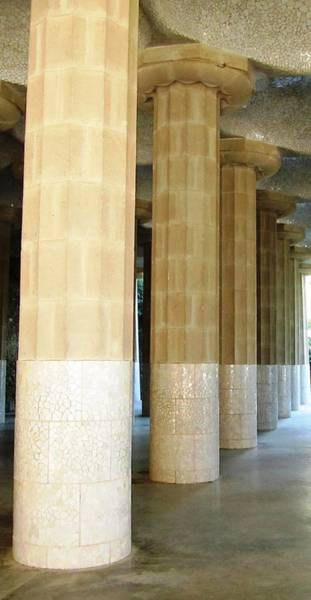 Photograph - Huge Tall Columns IIi Antoni Gaudi Guell Park Barcelona Spain by John Shiron