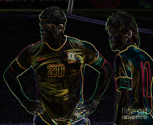 2010 Fifa World Cup Wall Art - Photograph - Hulk And Neymar Neon by Lee Dos Santos