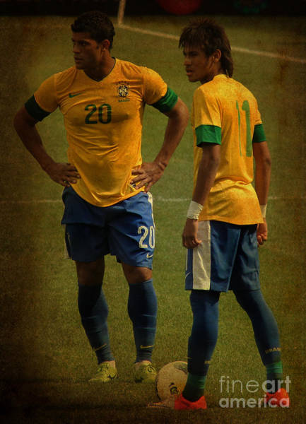 2010 Fifa World Cup Wall Art - Photograph - Hulk And Neymar Ready For The Shot II by Lee Dos Santos