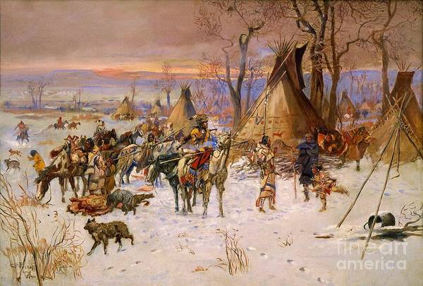 Indian Camp Painting - Hunters Returning To Camp by Pg Reproductions