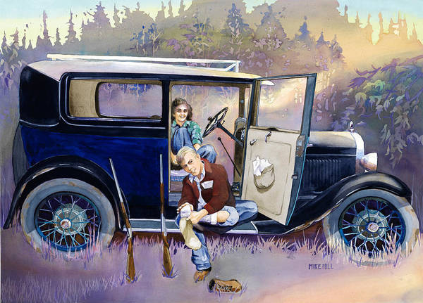 Collector Car Painting - Hunting For Love by Mike Hill
