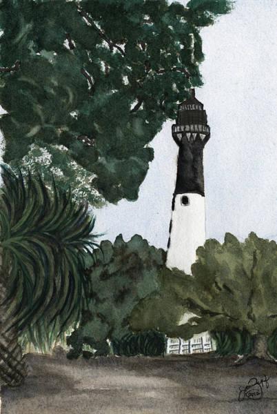 Hunting Island Lighthouse Wall Art - Mixed Media - Hunting Island Lighthouse by Joan Zepf
