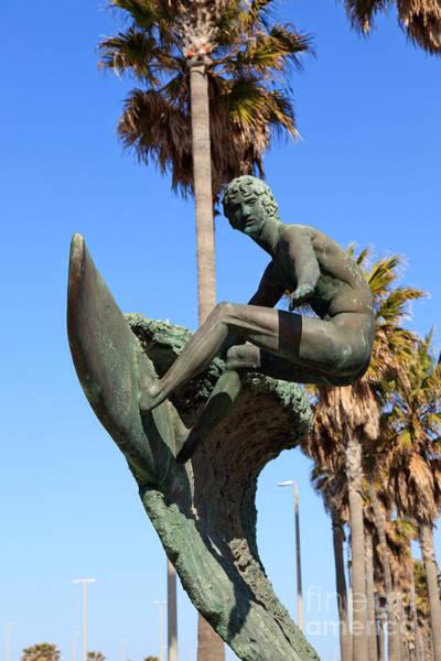 Huntington Beach Photograph - Huntington Beach Surfer Statue by Paul Velgos