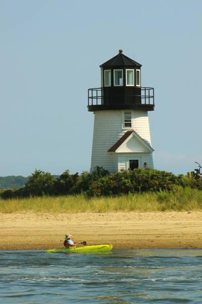 Hyannis Photograph - Hyannis Harbor Lighthouse Kayaker by John Burk