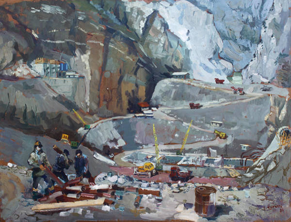 Construction Painting - Hydropower Koman by Ylli Haruni
