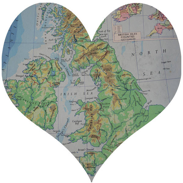 Road Map Photograph - I Love England Heart Map by Georgia Fowler