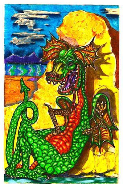 Volcanoe Painting - Iammyaza The Dragon by Al Goldfarb