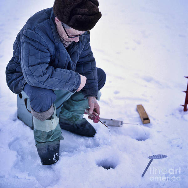 Photograph - Ice Fishing In The Russian Winter by Heiko Koehrer-Wagner