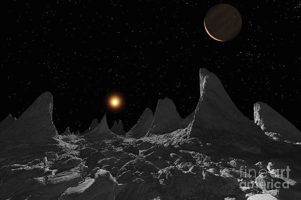 Cosmology Digital Art - Ice Spires On Jupiters Large Moon by Ron Miller